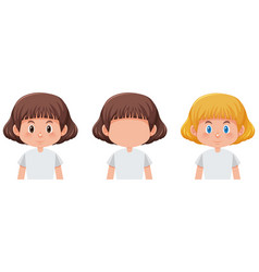 set of girl with different hair colour vector image