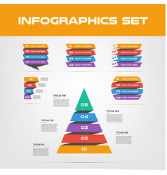 shadow ribbon infographic elements collection - vector image