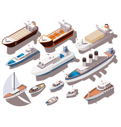 Ships isometric set vector