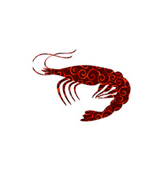 shrimp spiral pattern color silhouette aquatic vector image