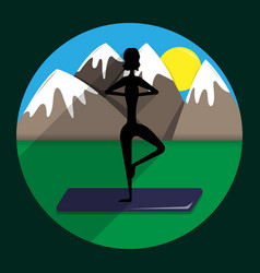 silhouette of the girl the practicing yoga vector image