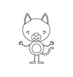 sketch contour caricature of cute cat tranquility vector image