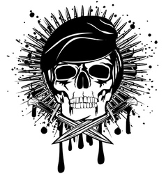 skull in beret crossed knives on grunge splash vector image