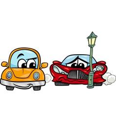 Sports car crashed cartoon vector
