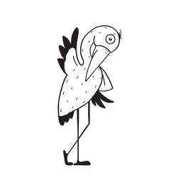 Stork Cartoon Childish Character for Kids vector image