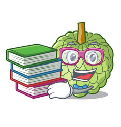 Student with book ripe sugar apple fruit on mascot vector