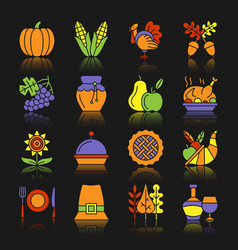thanksgiving day color icon set with reflection vector image