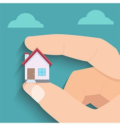 Tiny House in Hand vector image