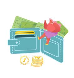 Tiny woman sitting huge purse full cash vector