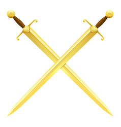 two crossed swords of gold on white background vector image