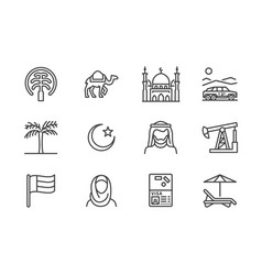 uae flat line icons arab emirates flag dubai vector image