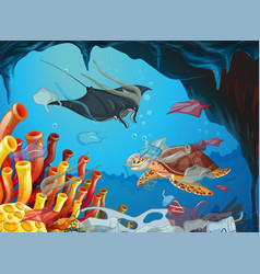 Underwater scene with animals and trash vector