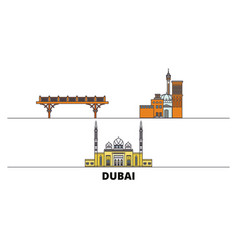 United arab emirates dubai flat landmarks vector