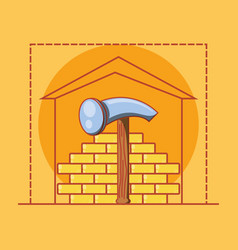 Wall with home repair icons vector