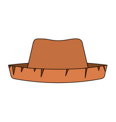 White background of straw hat with thick contour vector