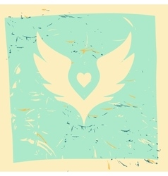 White wings with heart in center Grunge vector