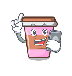 With phone coffee cup character cartoon vector
