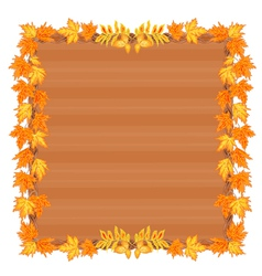 Wooden frame with autumn leaves rowan and maple vector