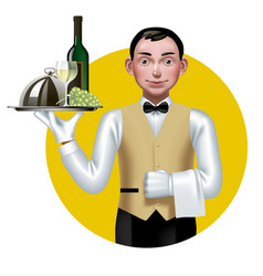Young waiter with a tray in a yellow circle vector