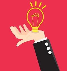 Bulb Light Good Idea in Hand vector image vector image