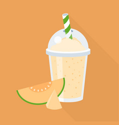 cantaloupe smoothie in plastic glass vector image vector image