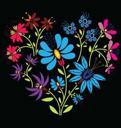 Color folk floral pattern in heart shape on black vector image vector image