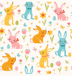 colorful easter bunnies pattern vector image