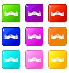 great wall of china icons 9 set vector image vector image