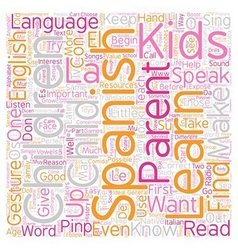 Kids Can Learn Spanish text background wordcloud vector image