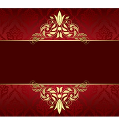 red card with gold tracery and pattern vector image