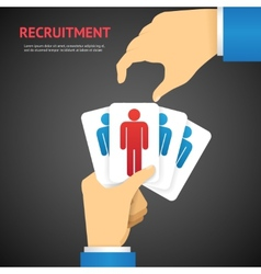 Creative Recruitment Cards Hold by Hand Concept vector image vector image