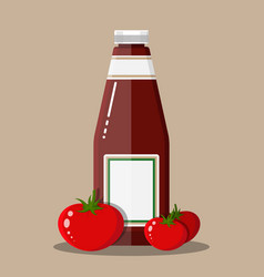 glass bottle of traditional tomato ketchup vector image