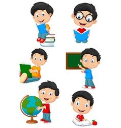 Happy school children cartoon collection set vector image vector image