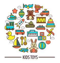 kid toys or children playthings poster vector image