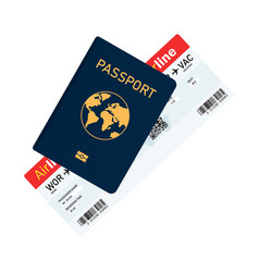 passport with tickets passport and boarding pass vector image