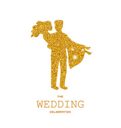 silhouette of wedding couple with gold glitters vector image vector image