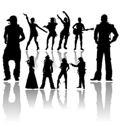silhouettes handmade dancing and singing vector image vector image