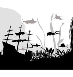 Sunken ship vector image vector image