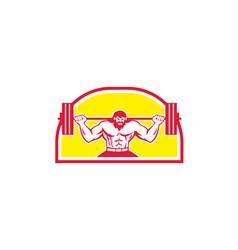 Bodybuilder Lifting Barbell Retro vector image