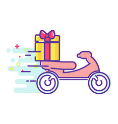 fast delivery of food on a moped vector image vector image