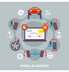 Wheel alignment flat design concept vector