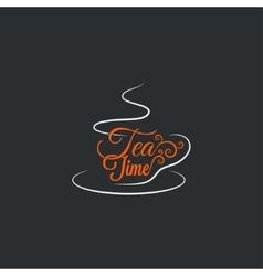 Cup of tea Logo mug ornate design background vector image