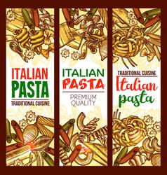 italian pasta restaurant sketch banners vector image vector image