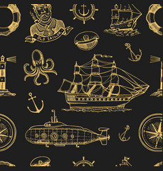 marine and nautical or sea ocean emblems vector image vector image