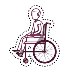 person disabled in wheelchair vector image vector image