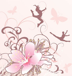 pink flowers girls Converted vector image vector image
