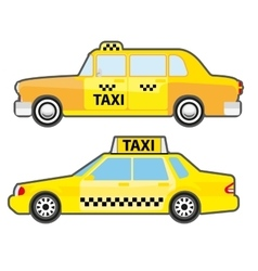 Set of car taxi service side view Yellow vehicle vector image vector image