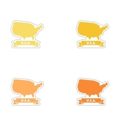 Set of paper stickers on white background united vector image vector image