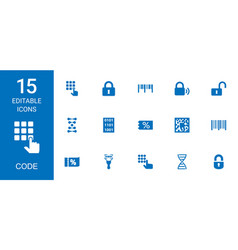15 code icons vector