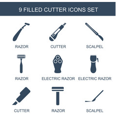 9 cutter icons vector